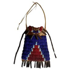 Early Northern Plains Native American beaded ration ticket bag