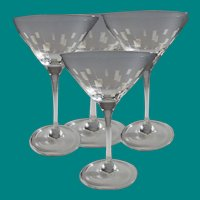 Four Vintage Martini Glasses Geometric Design