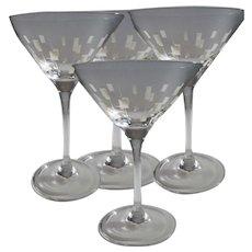 Four Vintage Martini Glasses Geometric Design