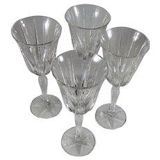"4 Noritake Crystal Pattern ""Vendome 923""    NO TRIM  Water Goblets"