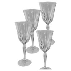 "Noritake Crystal Pattern ""Vendome 923""  NO TRIM Wine Goblet Set of Four"