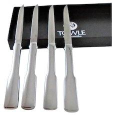 Vintage Towel Sliversmiths Steak Knives set of four