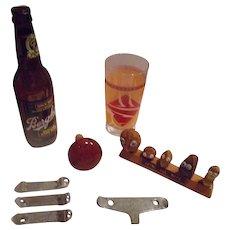 Vintage Memorabilia Bar Items Berghoff Bottle, Bottle Can Openers, Nut display,  Glass. Cork