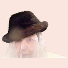 Vintage  1970's Bonwit Teller   Mink Fedora Hat
