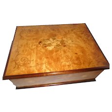 Vintage Italian Made Sorrento Marquetry Wood Inlaid  Large 3 tier  Jewelry Box