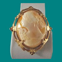 Vintage 1930's Gold Filled Cameo Broach