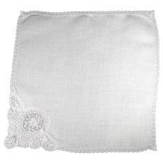 Vintage White Linen Bridal Handkerchief 1930's Era