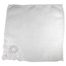 White Linen Bridal Handkerchief