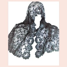 Black Vintage Mantilla Shawl and Head Scarf made in Spain 52 inches long