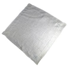 White Linen vintage Handkerchief  Featuring Drawn Thread Work