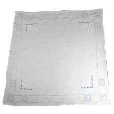 White Linen vintage Handkerchief  Featuring Drawn Thread Work and Hand Embroidery