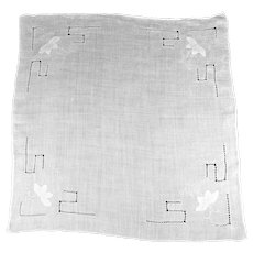 White Linen  Handkerchief  Featuring Drawn Thread Work and Flower Appliqués