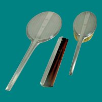 Sterling Sliver Vanity Set -Comb, Mirror, Brush 1930's Art Deco