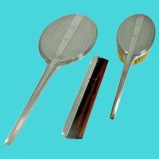 Sterling Sliver Vanity Set -Comb, Mirror, Brush 1930's Art Deco