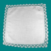 Vintage White Linen Bridal Handkerchief  Drawn Thread Boarder and Lace  Edge