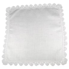 Vintage White Linen Bridal Handkerchief  Drawn Thread Boarder and Crochet Edge