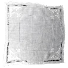 Vintage White Linen Handkerchief  Drawn Thread and Appliqués