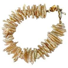 14k Italian Pink Cultured Keshi Pearl Bracelet