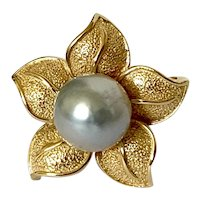 14k Silvery Blue Cultured Pearl Flower Ring