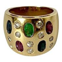 18k Sapphire Ruby Emerald & Diamond Ring