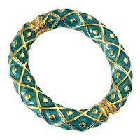 14k Italian Gold & Teal Blue Enamel Bangle Bracelet