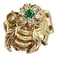 14k Estate Emerald & Diamond Flower Bee Ring