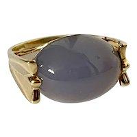 14k Lavender Jade Cabochon Ring