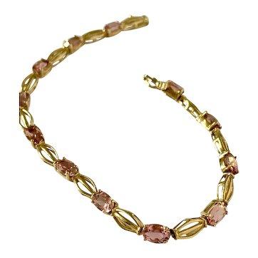 10k Pink Tourmaline Bracelet