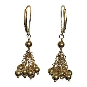 14k Vintage Shimmer Dangle Earrings