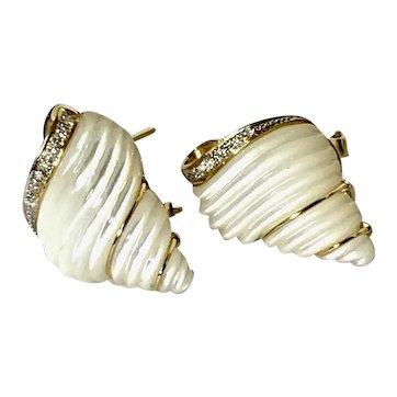 18k Mother Of Pearl & Diamond Seashell Earrings