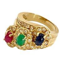18K Multi Cabochon & Diamond Floral Estate Ring