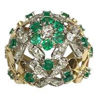 18K Emerald & Diamond Floral Ring