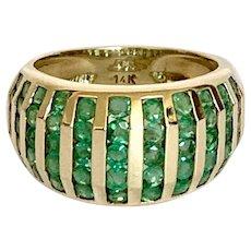 14k Emerald Multi Row Band Ring