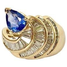 18k Ceylon Sapphire & Baguette Diamond Estate Ring