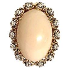 18k Angel Skin Coral & Diamond Estate Ring