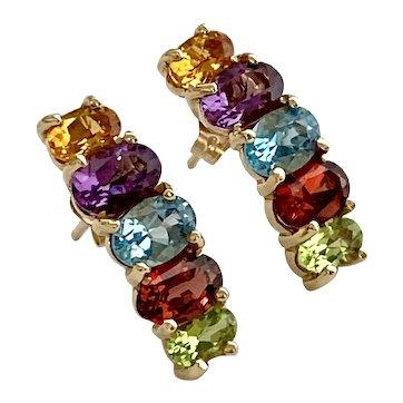 14k Multi Gem Vintage Rainbow Earrings