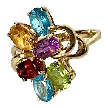 14k Multi Gem Vintage Rainbow Ring