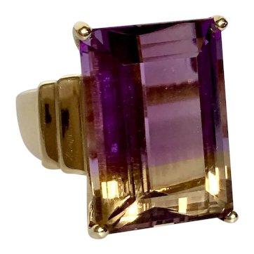 14k Emerald Cut Ametrine Ring