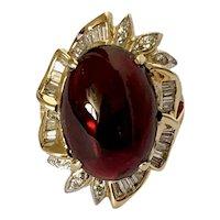 14k Ruby Cabochon Diamond Estate Ring