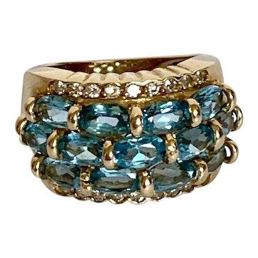 14k Vintage Swiss Blue Topaz and Diamond Band Row Ring