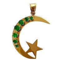 14k Emerald Moon & Stars Pendant