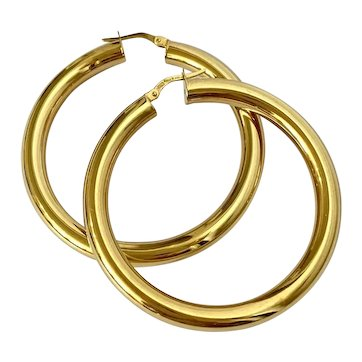 14k Large Italian Gold Hoop Earrings