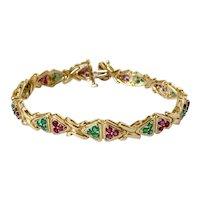 14k Ruby and Emerald Link Bracelet