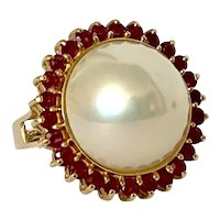 14k Vintage Cultured Mabe Pearl & Ruby Ring