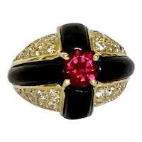 18k Onyx Ruby & Diamond Estate Ring