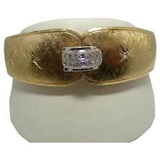 Unique Hinged, Vintage Bangle with Diamond Clasp and Florentine Finish