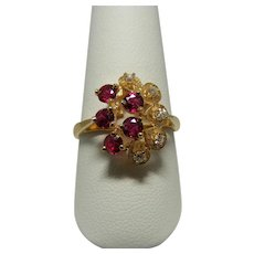 Unique Vintage Ruby and Diamond Ring in 14 Karat Yellow Gold