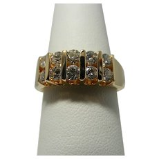 Five Channel, One Carat Total Diamond Weight Ring in 14Kt Yellow Gold
