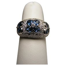 Exquisite Blue Sapphire and Diamond Ring Created in 18 Karat White Gold