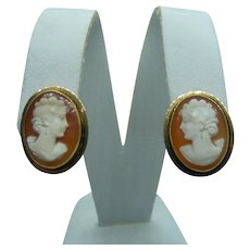 Vintage Shell Cameo Earrings Created in 18 Karat Yellow Gold w/ non-pierced screw backs